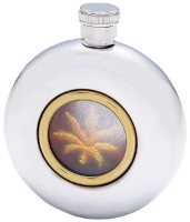 round personalized flask gold leaf view window