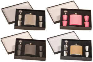 6 ounce personalized flask gift set