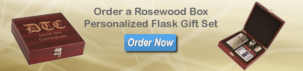 Rosewood Box Flask Set